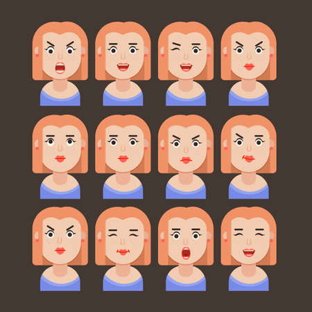 Set of woman's emotions. Facial expression. Girl Avatar, illustration in flat design, Vector format 向量圖像