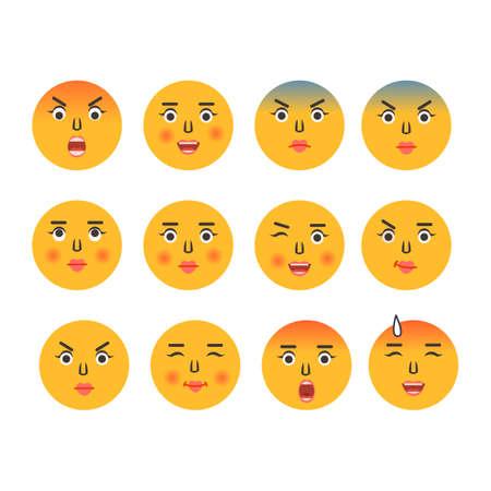 Set of cartoon emoticons. Emoji icons. Social media emoticon smile. Yellow faces expressing emotion. Vector illustration 向量圖像