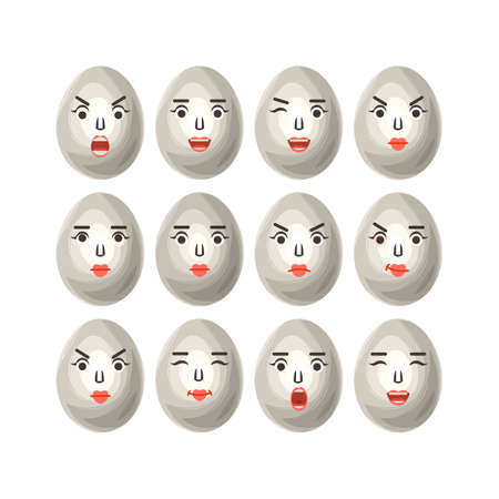 The eggs in a cartoon style with different emotions, The image of funny eggs on white background, vector format 向量圖像