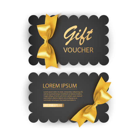 Set of Gift Voucher Card Template, Advertising or Sale. template with realistic golden bow illustration 向量圖像