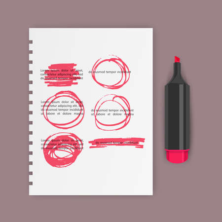 Set of hand drawn highlighter design elements, marks, stripes and strokes. Can be used for text highlighting, marking or coloring in your designs