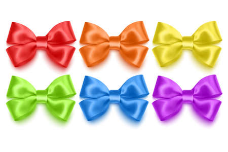 Set of realistic bows of purple, blue, yellow and green colors  illustration