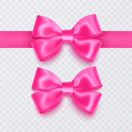 Set of realistic pink bows can be used as a decoration for greeting cards on Valentines Day or on mothers Day, vector illustration 向量圖像