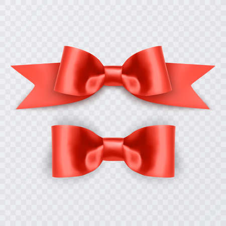 Set of Realistic red bows, Ribbon isolated on white background. Vector eps 10 illustration 向量圖像