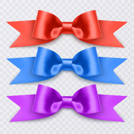 Set of realistic bows of purple, blue and red colors for decoration of postcards, holiday boxes, bows for decoration on a white background, vector illustration 向量圖像