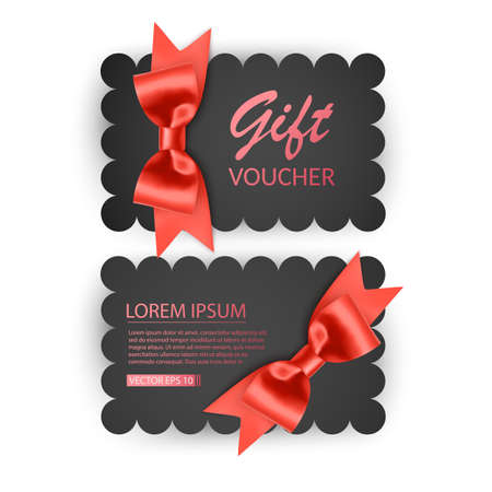 Voucher template with red bow, ribbons. Design usable for gift coupon, voucher, invitation, certificate, etc 向量圖像