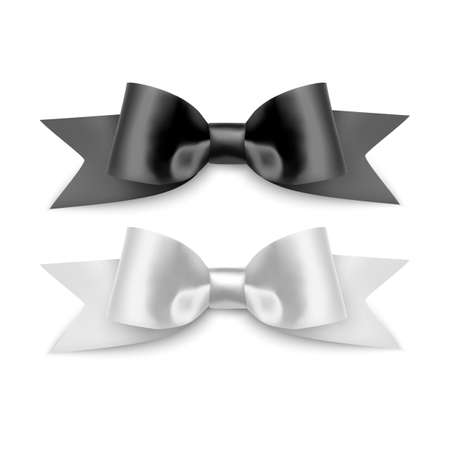 Set of Realistic bows, Ribbon of black and white colors isolated on white background. Vector eps 10 illustration 向量圖像