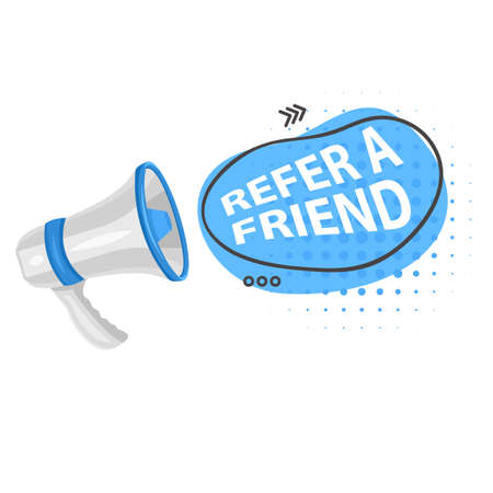 Share media information refer friend loudspeaker isolated icon program or app network and media posts and information share suggestion or reference advice or referral emblem marketing 向量圖像