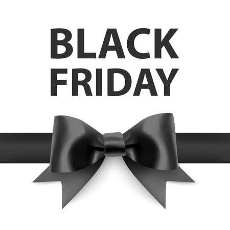 Black friday greeting card with a big black bow, a template for your design, a holiday card, Vector format
