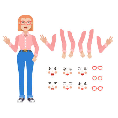 Collection of various poses and emotions of a young woman. Character of girl, Vector illustration in cartoon style 向量圖像