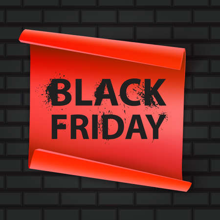 Black Friday inscription on a brick background. Concept of sale, clearance and discount, vector format 向量圖像