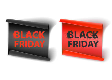 The Inscription Black Friday on a Red and Black Paper backing, Concept of sale, clearance and discount, vector format