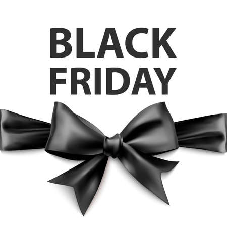 Black friday greeting card with a big black bow, a template for your design, a holiday card 向量圖像
