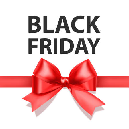 Black friday greeting card with a big Red bow, a template for your design, a holiday card 向量圖像