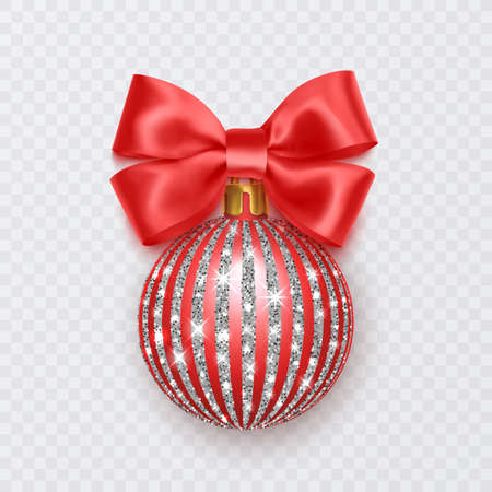 Red Christmas ball with bow. New Year decoration isolated on white background 向量圖像