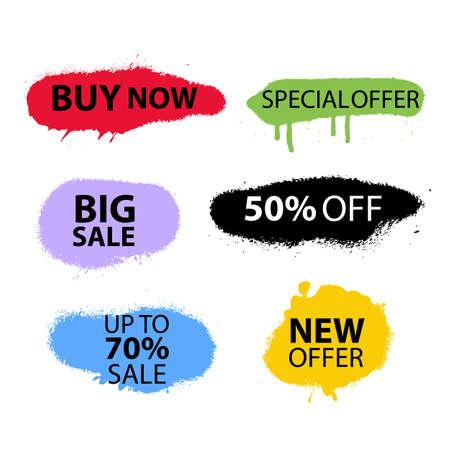Sale Banner Set Sprayed Sale font Graffiti with overspray Vector format
