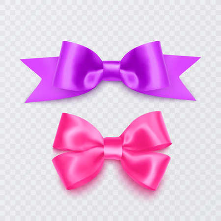 Set of realistic pink bows can be used as a decoration for greeting cards on Valentine's Day or on mother's Day