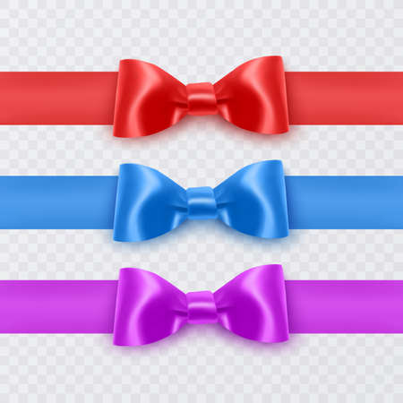 Set of realistic bows of purple, blue and red colors eps 10 illustration