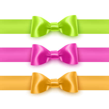 Set of realistic bows of pink, yellow and green colors for decoration of postcards, holiday boxes, etc., bows for decoration on a white background 向量圖像