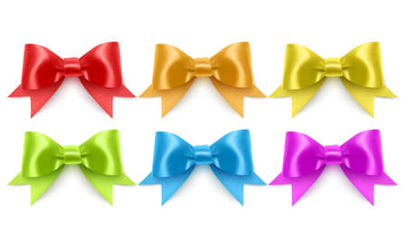 Set of realistic bows of purple, blue, yellow and green colors eps 10 illustration 向量圖像