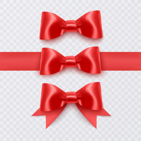 Set of Realistic red bows, Ribbon isolated on white background. Vector illustration