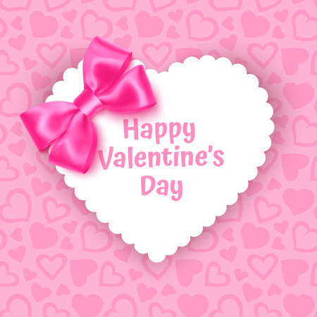 White frame with shape of heart on Festive pink background, pattern with hearts on light pink pastel background. Wedding. Birthday. Mothers Day. Valentine Day. Top view, copy space, Vector format