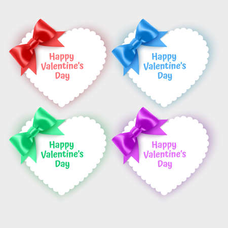 Set of valentine's day cards in the shape of a heart decorated with realistic bows of bright colors