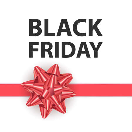Black friday greeting card with a big Red bow, a template for your design, a holiday card, Vector format 向量圖像