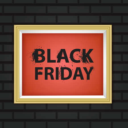 Black Friday inscription on a brick background. Concept of sale, clearance and discount 向量圖像