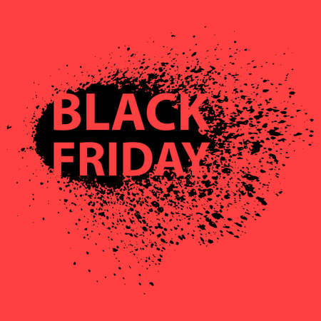 The Inscription Black Friday on a Black Background of Ink Splashes, Concept of sale, clearance and discount