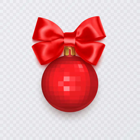 Red Christmas ball with bow. New Year decoration isolated on white background, Vector illustration