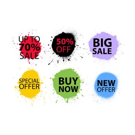 Sale Banner Set Sprayed Sale font Graffiti with overspray Vector illustration