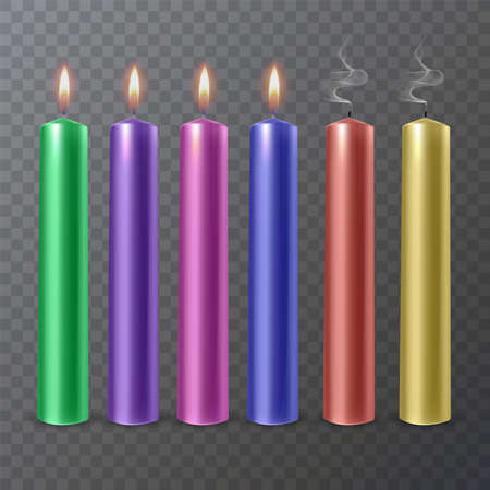Realistic colorful burning candles isolated on a transparent background.