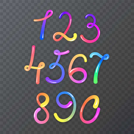 hand drawing colored numbers, mathematics numbers illustration vector 向量圖像