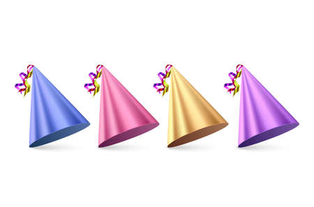 Birthday hats Set on white background, colorful party hat, vector format