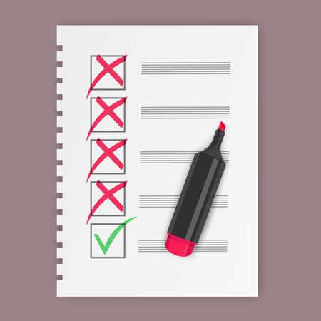 Yes and No check marks, Green checkmark OK and red No icons. Symbols, check mark, vector illustration