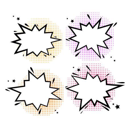 Comic book bubbles. Cartoon explosions funny comical speech clouds, set of Explosion bubble s, vector art