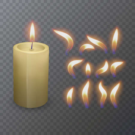 Realistic paraffin or wax burning candle and different flame of a candle, closeup isolated on transparency background. Design template