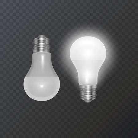 Realistic bulb in retro style, lamp looks good on dark substrate, Vector illustration