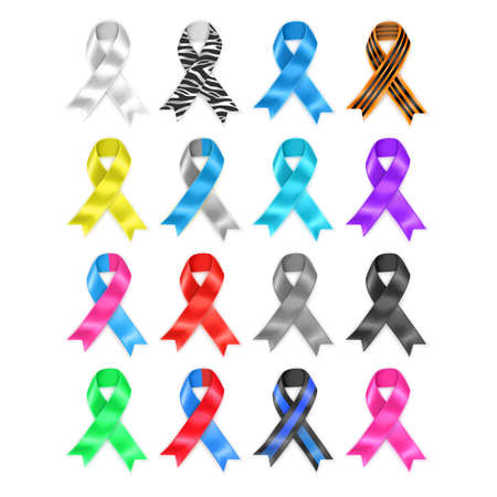 Symbolic ribbons - set of ribbons - prostate cancer Alzheimers Down syndrome breast cancer all cancers leukemia