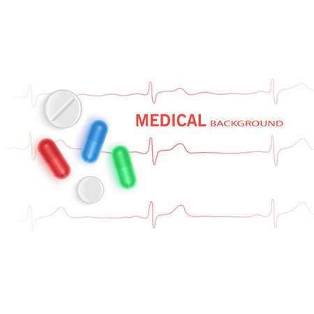 Medical Background with realistic tablets and medicines symbol