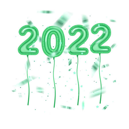 2022 golden decoration holiday on trendy background. Shiny party background. foil balloons numeral 2022. Happy new year
