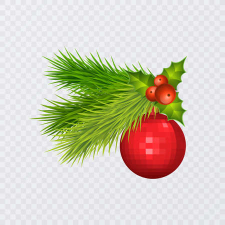 Holidays Background with Season Realistic Christmas Tree Branches Decorated with Berries and christmas tree toys