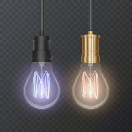 Realistic bulb in retro style, lamp looks good on dark substrate 向量圖像