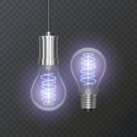 Realistic bulb in retro style, the lamp looks good on dark substrate