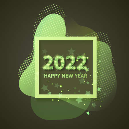 2022 Happy new year greeting banner. New Year 2022 with Shining and glitter texture