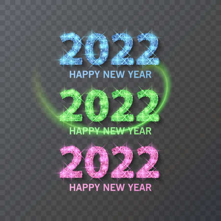 2022 HAPPY NEW YEAR script text with glitter texture. Design template Celebration typography poster, greeting card for Merry Christmas and happy new year