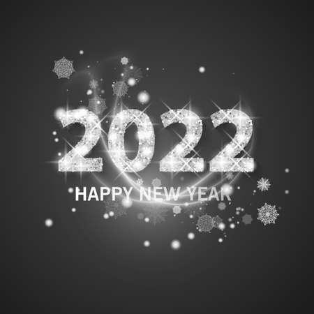 2022 Happy new year greeting banner. New Year 2022 with Shining and glitter texture vector  illustration