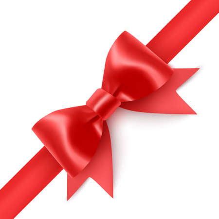Set of Realistic red bows, Ribbon isolated on white background.