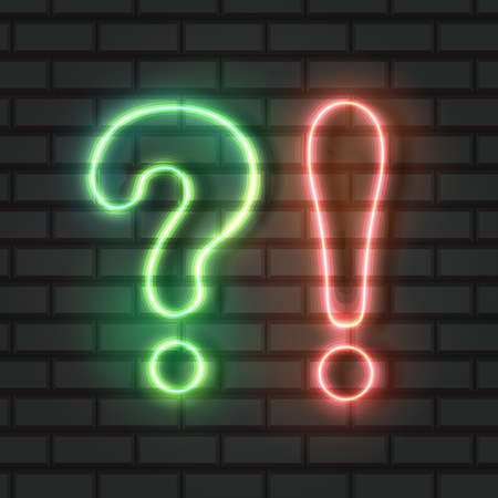 Vector Neon Question and Exclamation Points, Green and orange Lights